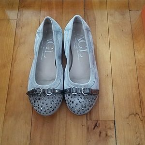 AGL grey/silver leather flats with studded cap toe
